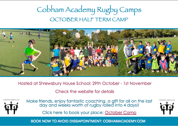 October Rugby camp dates set 29th Oct- 1st Nov. Book soon!